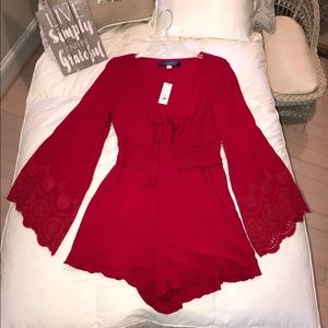 NWT Francesca's Red Romper